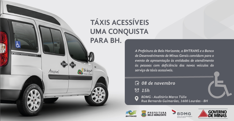Convite táxi acessível
